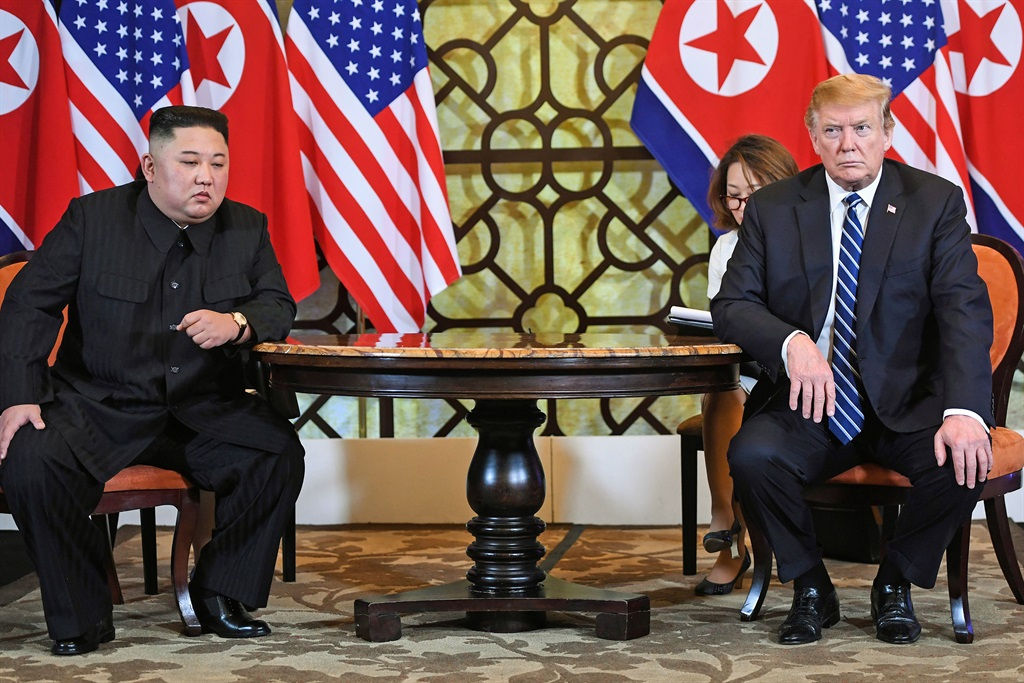 Trump and Kim during the second US-North Korea summit in Hanoi on February 28, 2019, before talks collapsed.