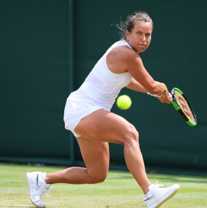 Barbora Strycova of Czech Republic plays a backhand in her Ladies Singles fourth round match against Elise Mertens of Belgium during Day Seven of The Championships - Wimbledon 2019 at All England Lawn Tennis and Croquet Club on July 08, 2019 in London, England. (Photo by Matthias Hangst/Getty Images)