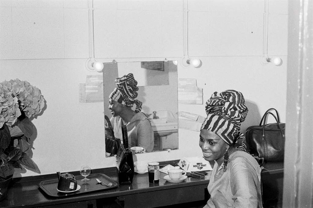 Miriam Makeba back stage at The Olympia in Paris, France, 1967 (Photo: Gamma-Rapho/Getty Images)