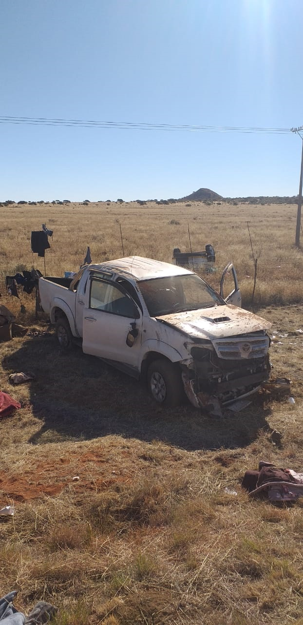 The bakkie involved in the fatal crash. (Twitter)