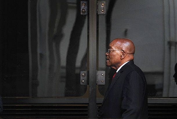 Former South African president Jacob Zuma arrives