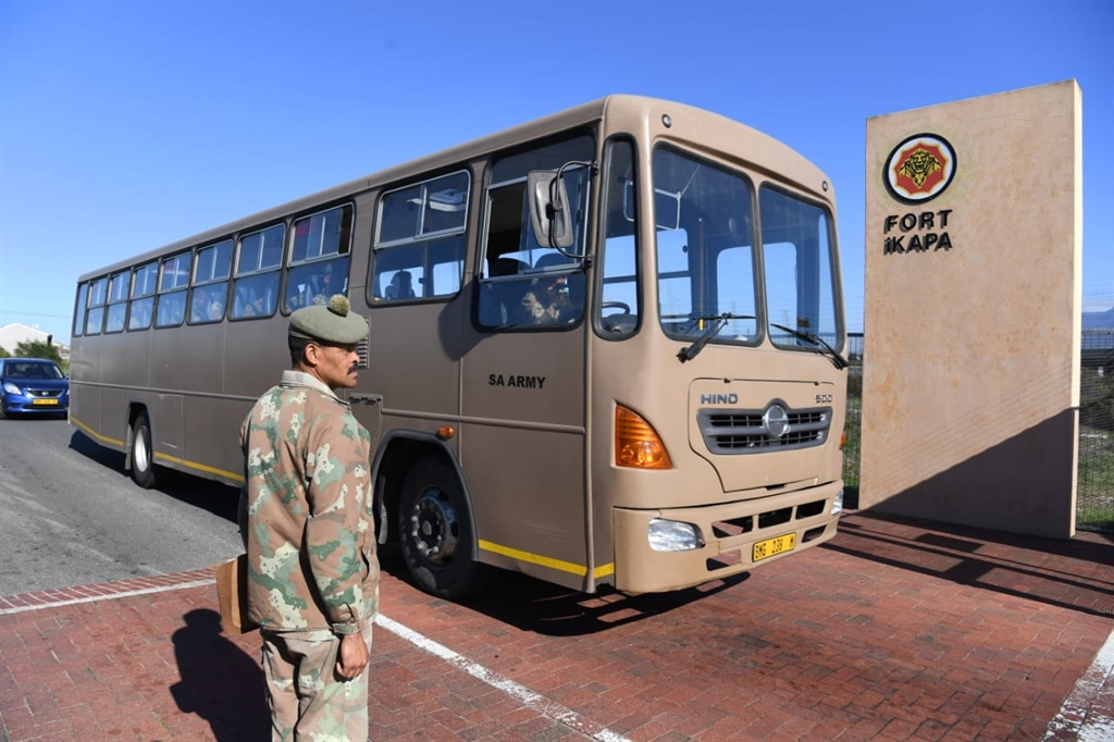 A bus carrying troops enters the Fort iKapa Military Base in Goodwood in Cape Town on Friday. (Jaco Marais, Netwerk24)