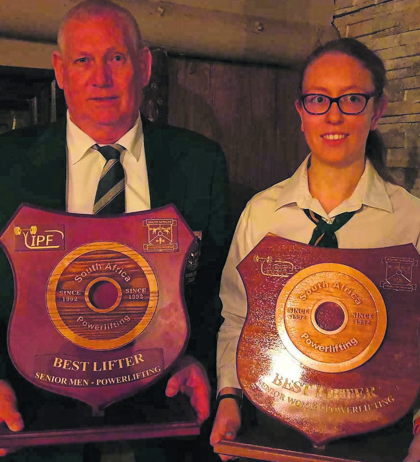 The Eastern Cape team returned from the recent SA Equipped Powerlifting Championships in Edenvale, Gauteng, with seven gold, two silver and one bronze medals. They also set two new SA records and six new EC records. Pictured are overall winners, André Ludik and Samantha Harding. photo: SUPPLIED