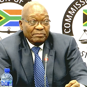 Former president Jacob Zuma speaking during his second day of testimony before the Zondo commission of inquiry into state capture in Johannesburg.