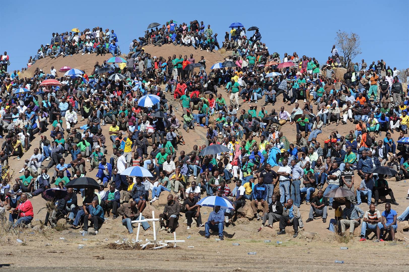 Miners gathered at the koppie in Nkaneng behind Lonmin mine outside Rustenburg in 2013 to commemorate the fateful day of August 16, 2012 when 34 miners were shot and killed by police  in what is now called the Marikana massacre.