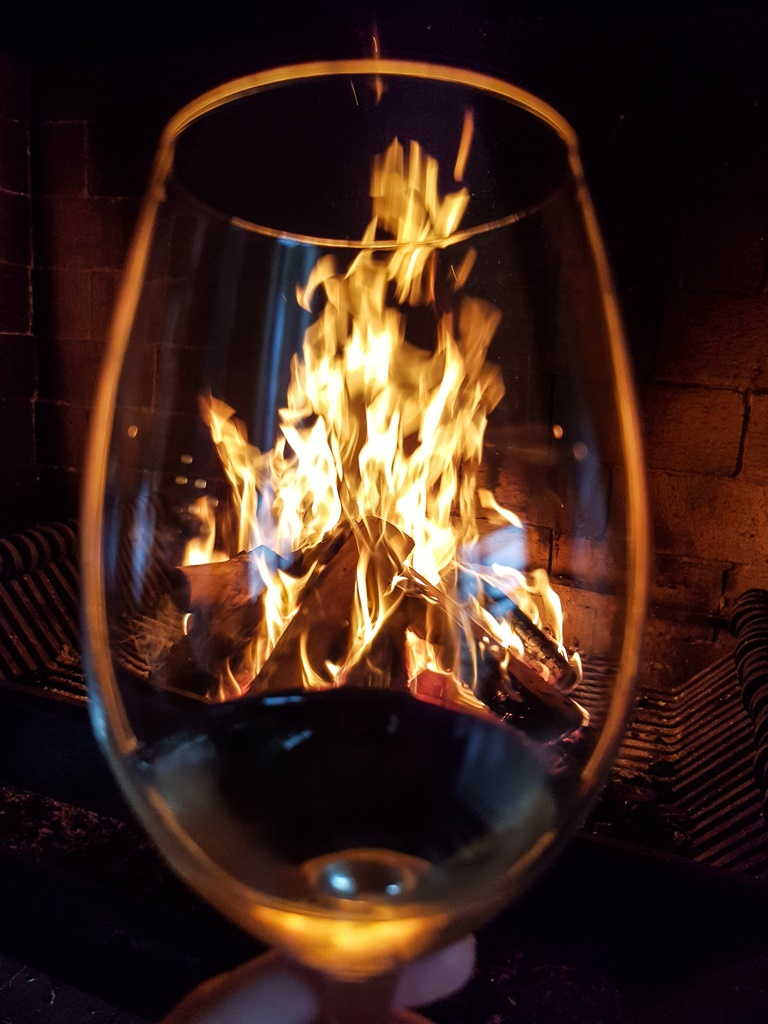 wineglass looking over fireplace