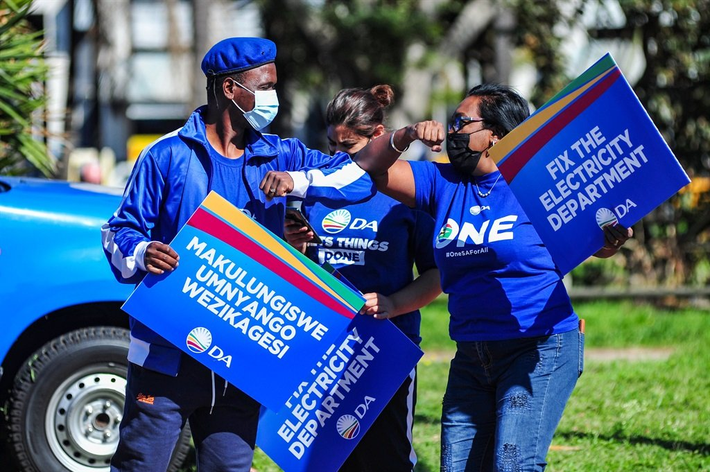 Placard holders during a peaceful protest at the eThekwini Electricity Headquarters on September 17, 2021 in Durban.
