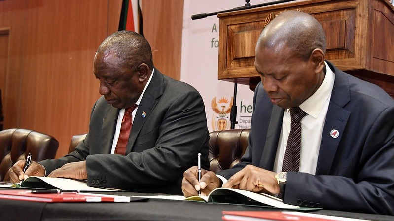 President Cyril Ramaphosa and Health Minister Dr Zweli Mkhize.