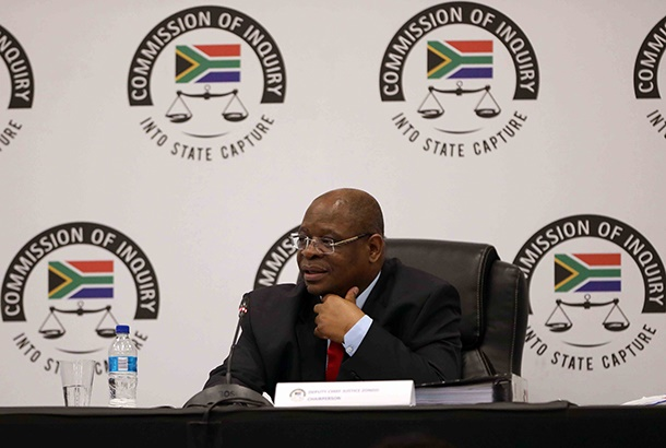 Chair of the state capture commission of inquiry deputy chief justice Raymond Zondo during the testimony of former president Jacob Zuma in Parktown, Johannesburg.