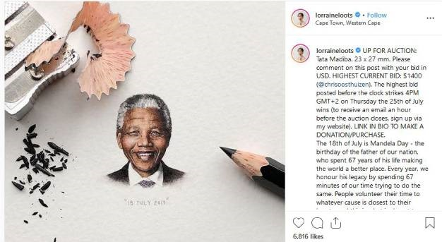 A Cape Town-based artist has used Nelson Mandela Day to try to raise funds for her childminder via social media. (Instagram)