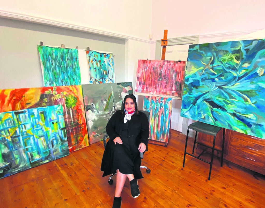 Creative artist Razia Myers produced a series of nine abstract paintings that depict the journey through the different phases of the national lockdown. PHOTO: supplied