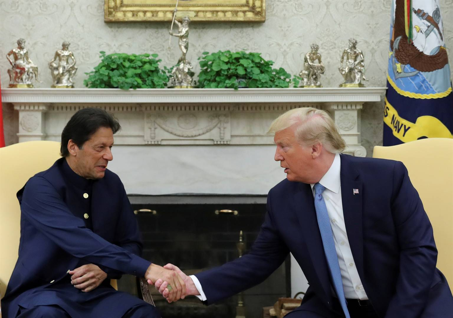 President Donald Trump and his Pakistan counterpart Imran Khan, at a meeting at the White House.