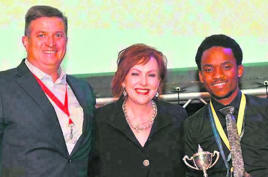 From the left are Dirk Uys (CEO of Rich Products Corporation Africa), Letitia de Wet (CEO and country director of Enactus South Africa) and Thembisile Tyopo (winner of the 2019 WV de Wet Student Leader Excellence Award).Photo: Supplied