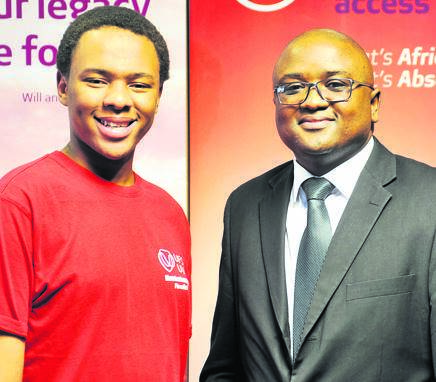This year, Absa is once again a sponsor of the Matriculant of the Year competition. With Luvuyo Jacobs, a finalist in last year's competition and currently a student at the University of the Free State, is Thabiso Moletsane, Absa's area manager: relationship banking in Bloemfontein. Photo: André Damons