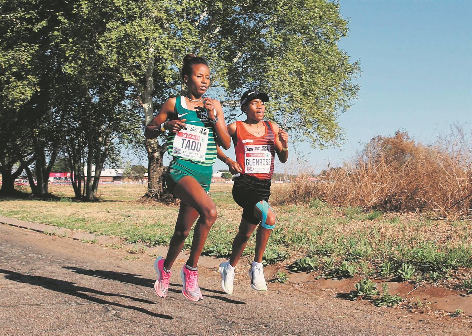 Tadu Nare is tracked by Glenrose Xaba during the fourth leg of the Spar Women's Challenge in Tshwane on Friday PHOTO: Reg Caldecott