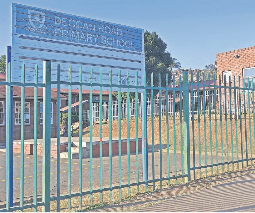 A deserted Deccan Road Primary School on Tuesday afternoon. The school will re-open on Monday following a deep cleansing of the school over the next few days.