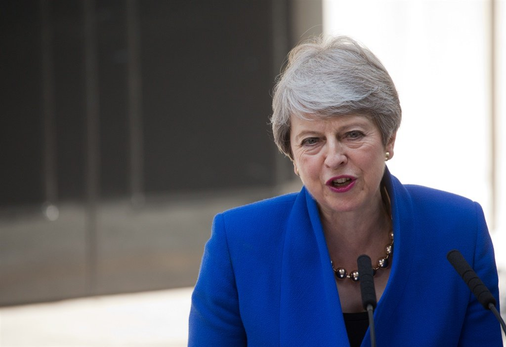 Britain's outgoing prime minister Theresa May gives a speech outside 10 Downing street in London. (Isabel Infantes, AFP)