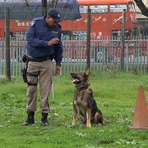 Constable Mosuli Faku with K9 officer Savage. (Screengrab)