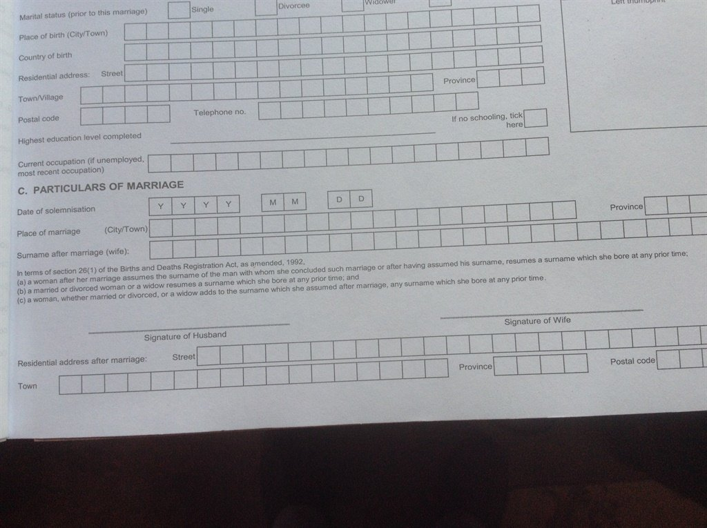 A copy of a marriage registration from.