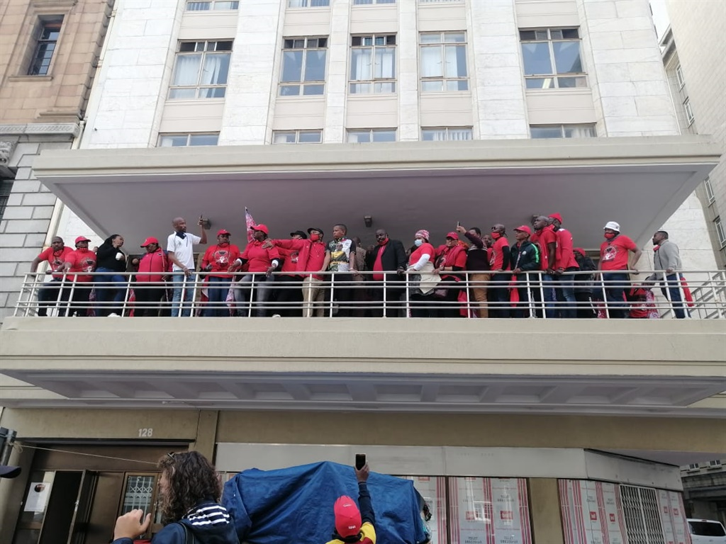 Nehawu members at their offices in Cape Town after being dispersed at a protest outside Parliament.