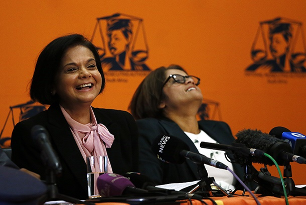 National Director of Public Prosecutions (NPPA) Adv Shamila Batohi (L) during a media briefing in Silverton where she introduced the new Investigating Director Adv Hermione Cronje (R) at NPA Head Office on 24 May 2019. (Photo: Gallo Images / Phill Magakoe)