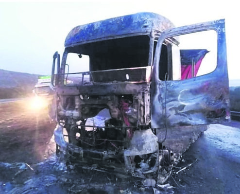 This is what was left after a truck was torched on the N3 near Ashburton. (File, Facebook)