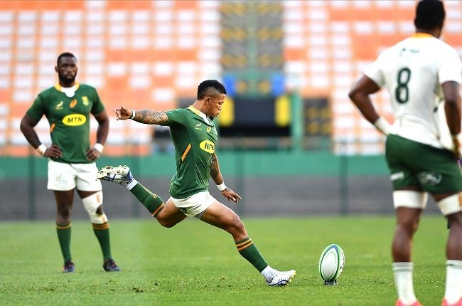 Elton Jantjies in action for the Springbok Green team in the Springbok Showdown match against Springbok Gold at Newlands on 3 October 2020. (Photo by Ashley Vlotman/Gallo Images)