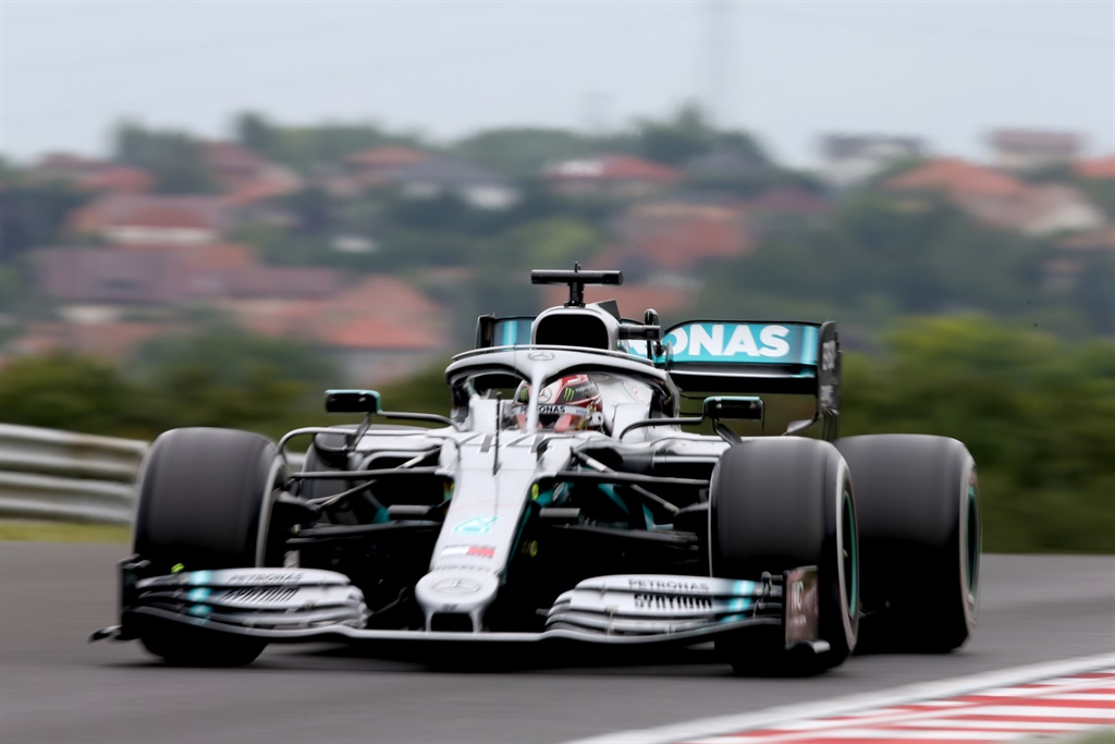 BUDAPEST, HUNGARY - AUGUST 02: Lewis Hamilton of Great Britain driving the (44) Mercedes AMG Petronas F1 Team Mercedes W10 on track during practice for the F1 Grand Prix of Hungary at Hungaroring on August 02, 2019 in Budapest, Hungary. (Photo by Charles Coates/Getty Images)