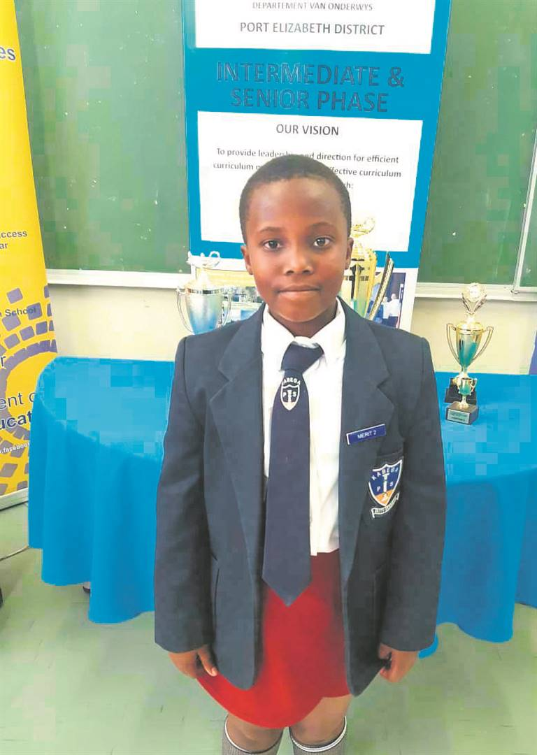 Grade 4 Kabega Primary School learner, Lumi Liwela, was recently placed eighth in the District Spelling Bee Competition. Despite only being in Grade 4, Liwela went on to perform among her Grade 6 competitors. Photo:SUPPLIED