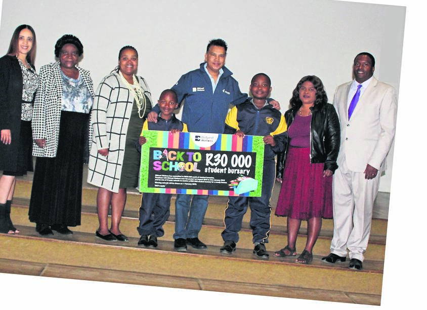 Scottsville Primary School were so excited to be one of three schools that were selected for a Bidvest Waltons bursary of R30 000. The bursary was shared between two pupils, Phiwayinkosi Bhengu in Grade 3 and Siphesihle Zuma in Grade 6. On behalf of these pupils and their families, thank you to Bidvest Waltons for your generous bursary, and for this wonderful act of kindness. We are truly grateful. Pictured (from left): Caroline Shaw, Fikelephi Bhengu, Nombuso Bhengu, Phiwayinkosi Bhengu, Yaseen Sheik, Siphesihle Zuma, Lungile Zuma and headmaster Nhlanhla Mkhize.PHOTO: supplied