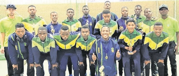 The Brebner High School Football Club's senior boys' team players claimed a silver medal at the annual Kloof High School tournament staged in Kloof, KwaZuluNatal. From left are, front: Kamohelo Mohasi, Molefi Molibola, Boitumelo Phohlela, Masiu Mphatsoanyane, Paul Cossie, Molao Moholo, Ethan Plaatjies and Refilwe Mochoari; back: Lee-Sheldon Bateman (coach), Katleho Mpasi, Themba Nqwakuza, Anesipho Mpinga, Sivenathi Asiya, Mohau Makoro, Tebogo Molelekoa, Thato Twala, Kgotso Pakwa and Thabiso Mosheshe. The team was further rewarded with the selection of five players as part of the squad of best players. Those included were Mpinga, Asiya, Cossie, Phohlela and Molelekoa. This year's competition was held during the school holidays from 15 to 17 June. Photo: Supplied