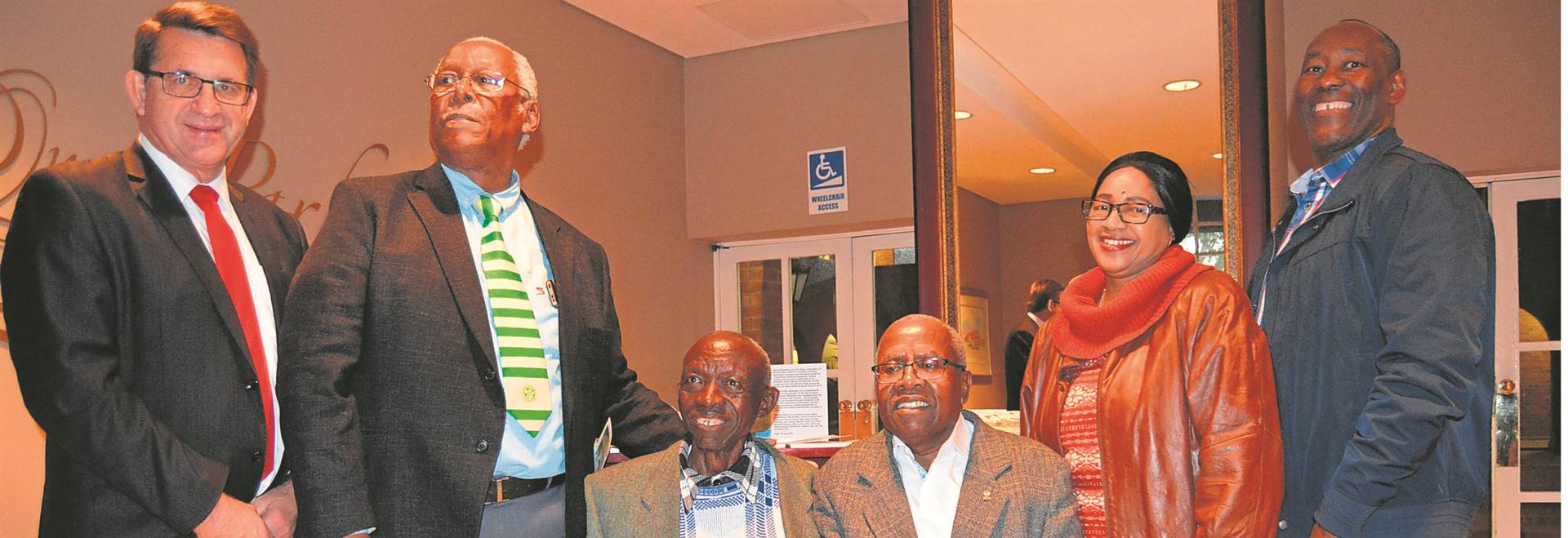 "The Central University of Technology, Free State, hosted the official launch of two books, Resilient Ntate Molemela and Dance Siwelele, dedicated to Dr. Rantlai Molemela and Bloemfontein Celtic supporters and the club, respectively. Dignitaries at the function held in Bloemfontein on 15 July are, from the left, Prof. Henk de Jager (vice-chancellor and principal of the CUT), Mike ""The Puma"" Litsili (former Celtic player), Victor Mahatanya (co-founding director of Celtic), Molefi Mika (author), Catherine Mathobisa (wife to the late Norman Mathobisa, co-founding director of Celtic) and Sello Molemela (son of the late Dr Petrus Molemela). Photo: Supplied"