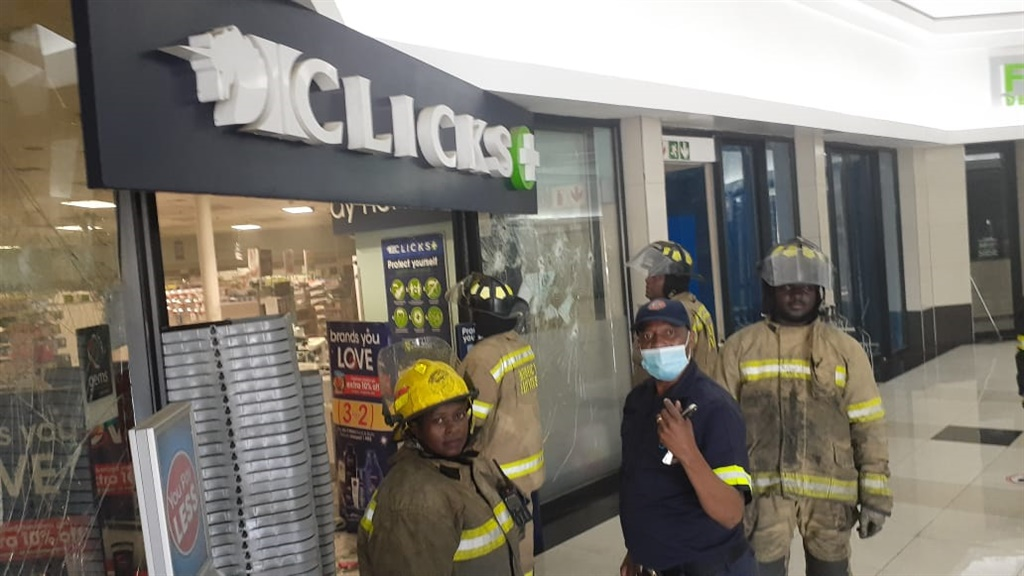 A Clicks outlet in Alberton after it was vandalised by protesters.