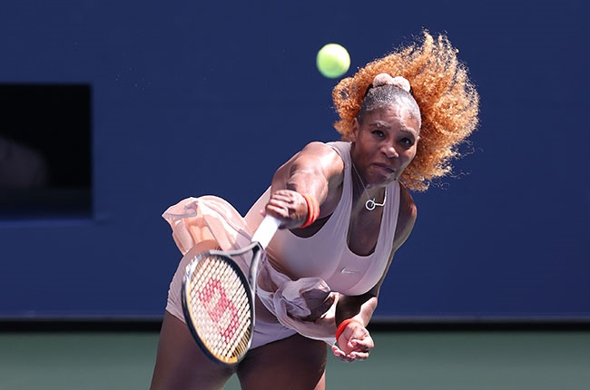 Serena Williams serves during her fourth round match against Maria Sakkari at the US Open on 7 September 2020.