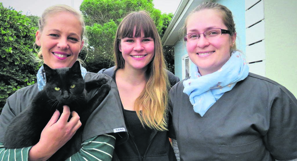 The Mexican, in conjunction with the Jeffreys Bay Animal Rescue Sanctuary (JBay ARS) will present a talk - Understanding your pet better and strengthening your relationship - by Jo-Anne Richter (left) from Oribi Animal Hospital at 19:00 on Wednesday, August 14. Attendees can furthermore look forward to live music by local artist, Lukin. Tickets cost R100 per person and include soup and bread. All funds raised will go towards the JBay ARS. With Richter are JBay ARS volunteer Fabi Ziegler (middle) and Emma-Lisa Lok from Oribi Animal Hospital.                      Photo:MONIQUE BASSON