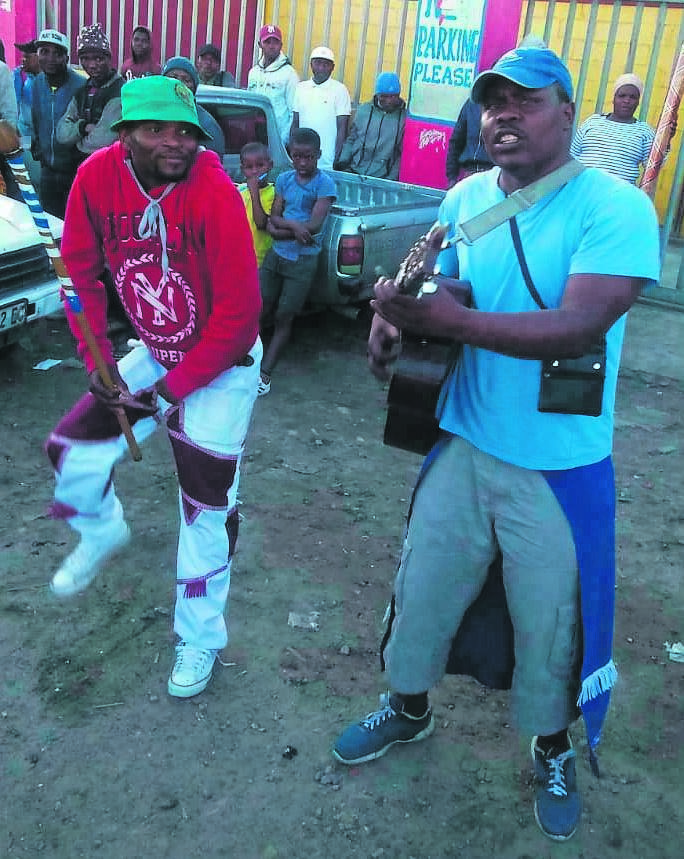 Sokalentsangu is performing near Goal in Philippi with his dancer known as Phumegiyeni.