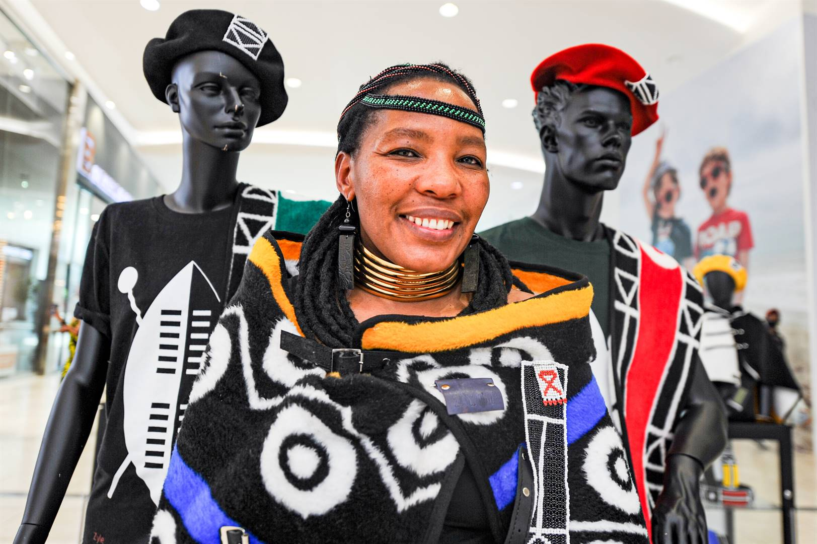 Phumzile Ntuli, head designer and owner of Zyle Clothing at her stall at Mall of Africa. Picture: Rosetta Msimango