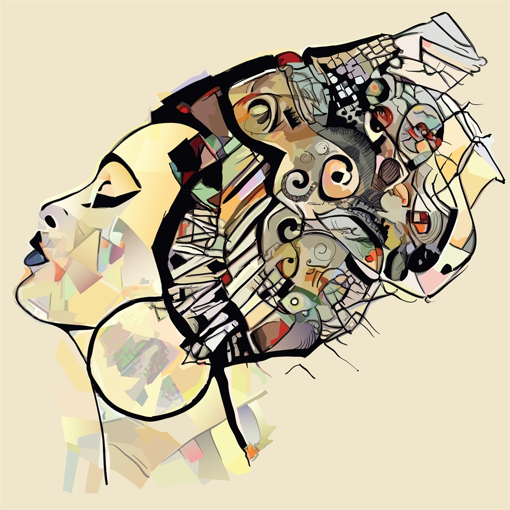 Portrait of cute african woman with hat (profile)
