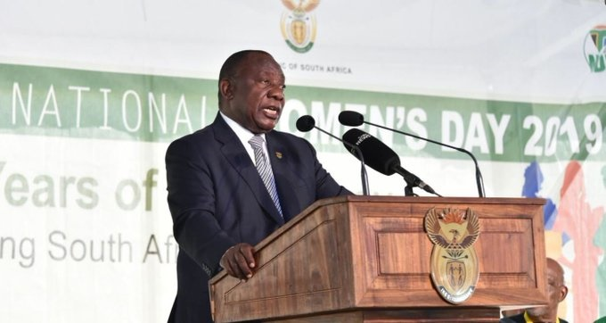 President Cyril Ramaphosa delivered the keynote address on National Women's Day Picture: Twitter/SAgovnews