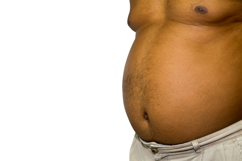 Belly Fat of black mens isolated on white with cli