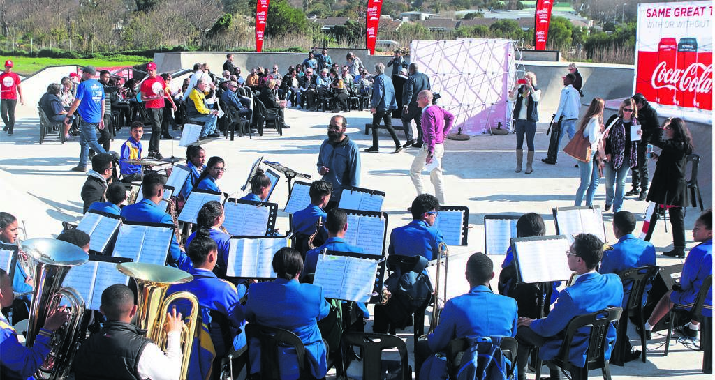 Steenberg High School Jazz Band entertains guests at the opening of the Eyethu Hout Bay Skate Park.