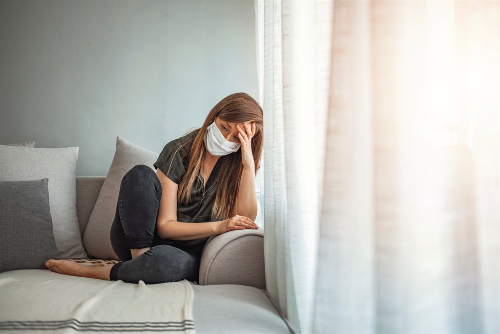Sad lonely girl isolated stay at home in protectiv