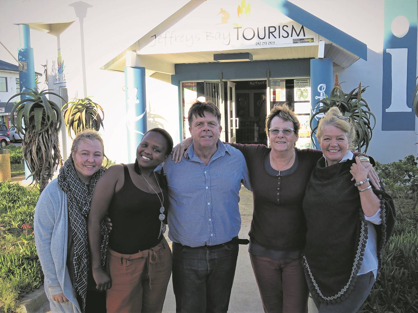 Marlé Mans, Chwayita Nkonyeni, Deon Freemantle (Chairperson), Nicky Kruger (Operational Manager) and Estelle de Beer (Marketing Manager) from the Jeffreys Bay Tourism are at the forefront in promoting the rich history, culture and heritage of Jeffreys Bay to the world. Photo:MONIQUE BASSON
