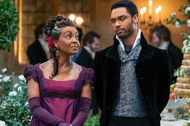 Adjoa Andoh as Lady Danbury and Regé-Jean Page as