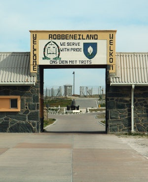 The entrance to the former high-security prison at Robben Island. (GETTY)