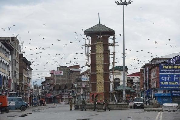 SRINAGAR, INDIA - AUGUST 14: Paramilitary soldiers
