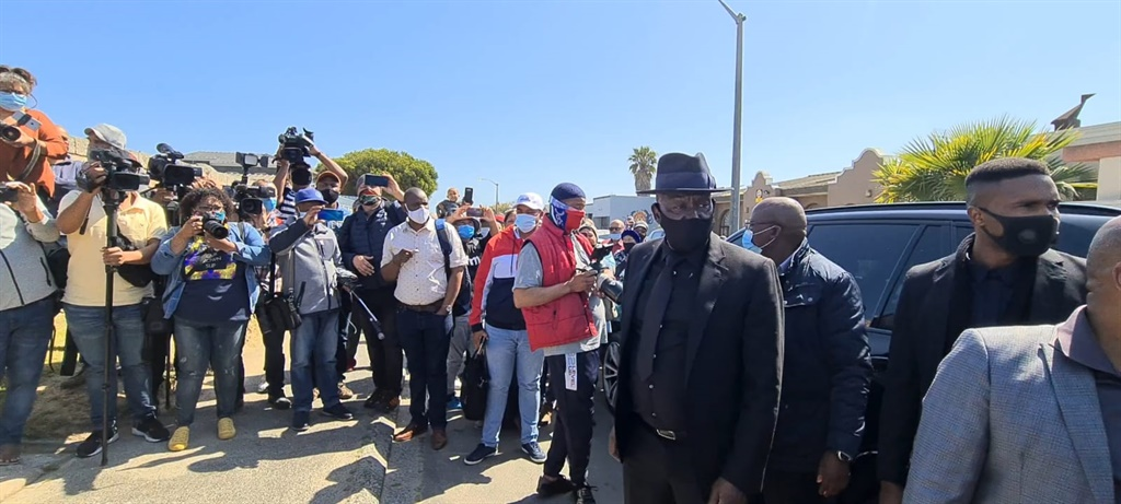 Police Minister Bheki Cele arrives at slain top cop Charl Kinear's home on Saturday.