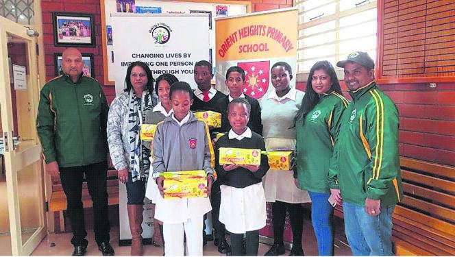 NGO Making a Difference SA with some of the pupils at Orient Heights Primary School.PHOTO: supplied