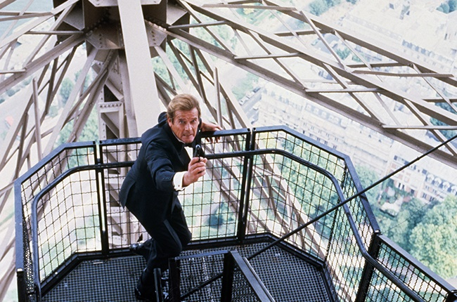 British actor Roger Moore on the set of the James Bond 007 film A View to a Kill, directed by John Glen.
