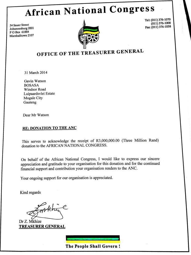 A letter from former ANC treasurer-general Zweli M